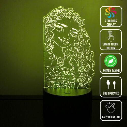 MOANA BEACH GIRL HAWAII 3D Acrylic LED 7 Colour Night Light Touch Table Lamp