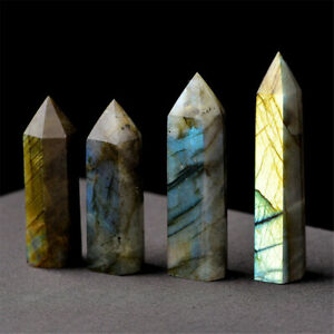 Natural-Labradorite-Moonstone-Crystal-Point-Healing-Stone-Fluorite-Wand-Quartz