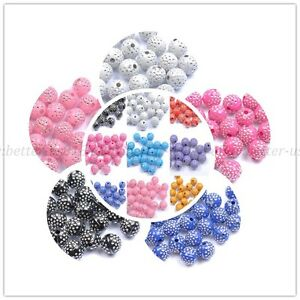 100pcs Mixed Colours ACRYLIC Colorful Artful ROUND Loose Spacer BEADS 8MM 10MM