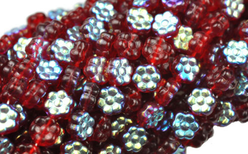 Silver AB Glass Flower Beads 8MM 50 Ruby Red