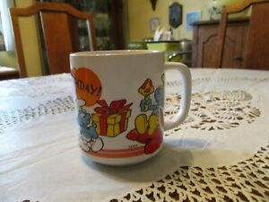 1981-Smurfs-Vintage-Coffee-Cup-Mug-Happy-Birthday-By-Wallace-Berrie