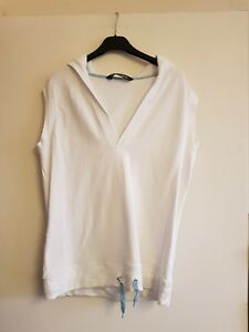 Lovely-ladies-white-sleeveless-hooded-sweatshirt-by-skinnifit-size-L-12-14
