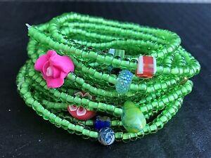 Green-Stretch-Bracelets-Bulk-Bracelets-Lot-Of-18-Handmade-In-The-U-S-A-NEW