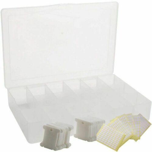 Embroidery Floss Organizer Box 17 Compartments with 100 Hard Plastic BobbinsO4 S