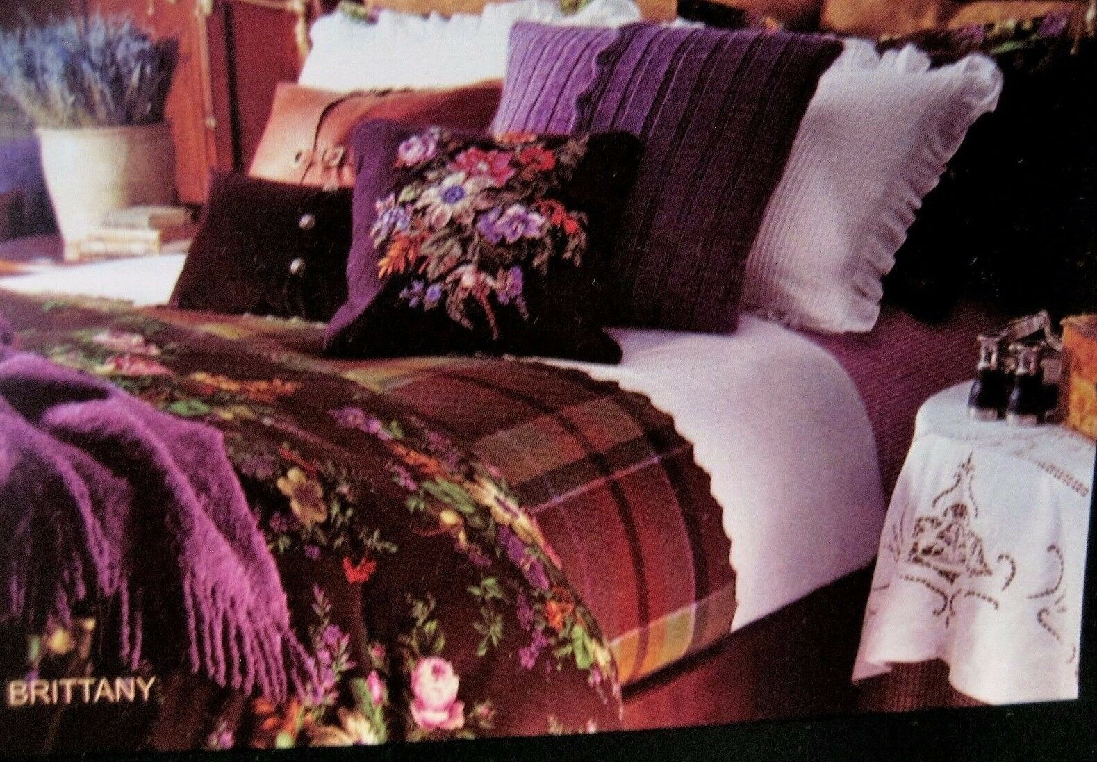 Ralph Lauren Brittany Floral Eggplant Purple Needlepoint Wool Square Toss Pillow