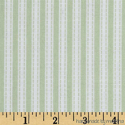 Fabric Green Simple Ticking PWTW087-GRN bty Free Spirit Slipper Rose Collection