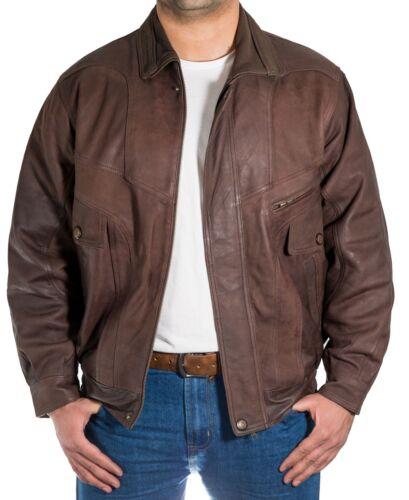 Mens Brown Italian Vintage Leather Classic Casual Retro Bomber Blouson Jacket