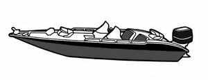 GREY BOAT COVER FITS BAYLINER BASS BOATS 1704//1710 FB O//B 1987