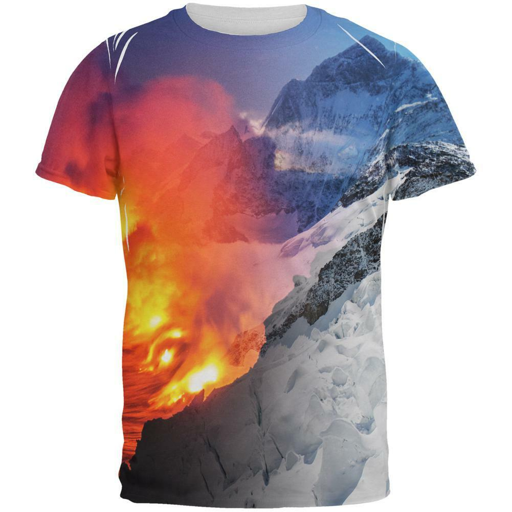 Extreme Nature Adventures Fire And Ice All Over Mens T Shirt