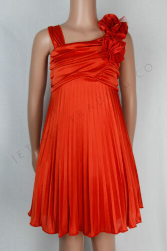 Girls Fancy Orange Silky Sleeveless Dress with Floral Broach Sizes 4 to 14