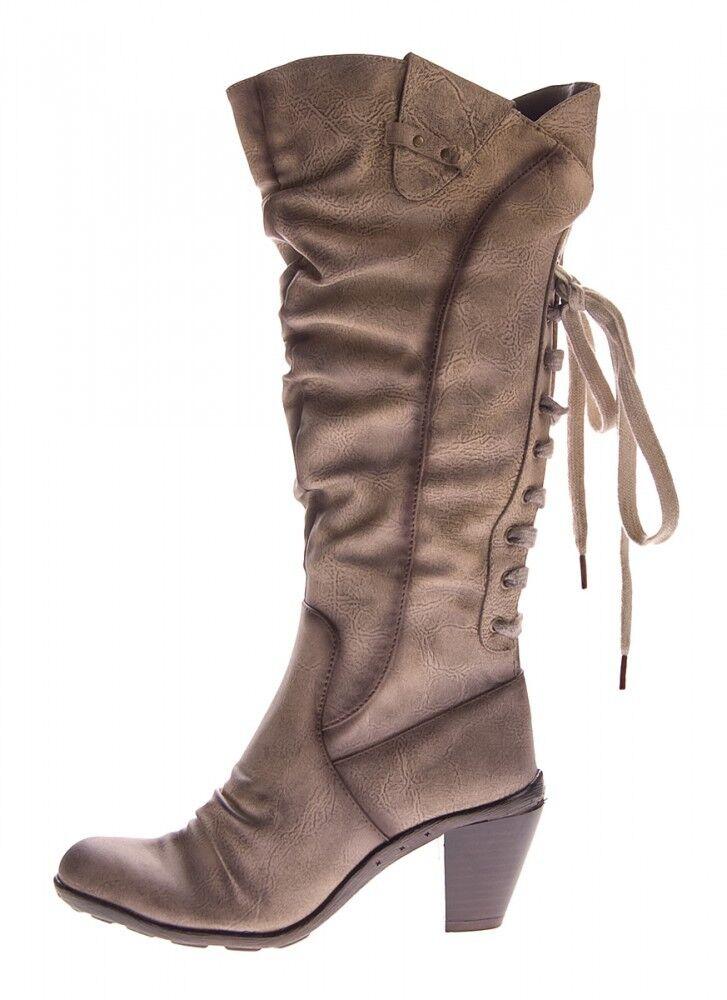Botas Mujer Cuero Marrón Sintético Zapatos Tacón Cono Marrón Cuero Botas de caña alta 36-41 43b0e4