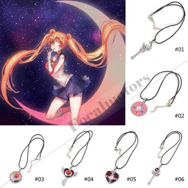 Sailor Moon Magic Wand Heart Wing Necklace Silver Charm Alloy Anime Cosplay 2015