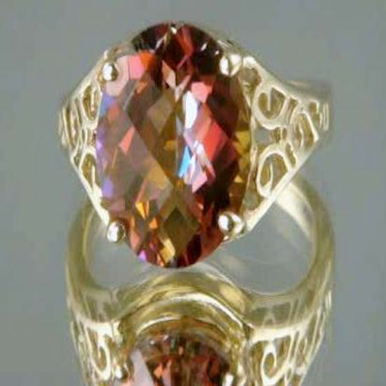 Twilight Fire Topaz, Solid 10KY or 14KY gold Ladies Ring, R057-Handmade
