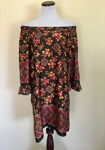 f2bf73d0c2fe Uncle Frank Boho Brown Yellow Maroon Floral Off Shoulder Shift Dress ...