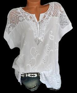 buy online 772c5 77ef3 Details zu Weiße Tunika Shirt Bluse bestickt Häkel Spitze Übergröße große  Größe 44 46