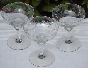 Lorraine-Lemberg-Nancy-Lot-de-3-coupes-a-champagne-en-cristal-taille-Debut-Xx