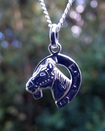 Anhänger Hufeisen mit Pferdekopf Kinderschmuck 925 Silber Set Kette