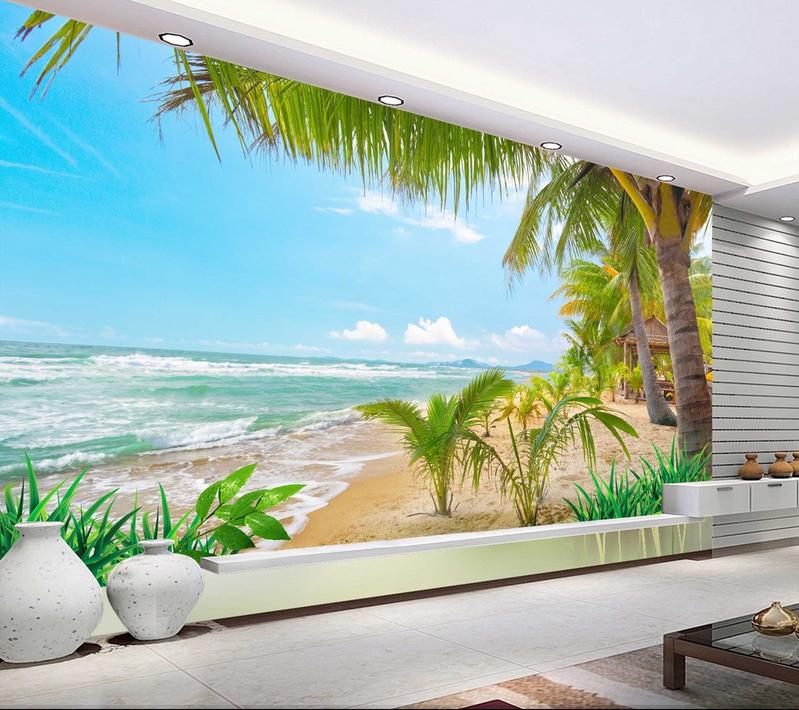 3D Strand Pflanzen 864 Tapete Wandgemälde Tapete Tapeten Bild Familie DE Summer
