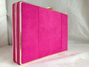 341448554 NEW HOT FUSCHIA PINK FAUX SUEDE BOX EVENING CLUTCH BAG WEDDING PARTY ...