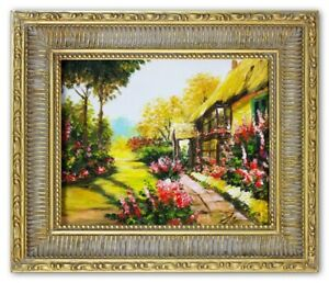 Oil-Painting-Pictures-Garden-Handmade-with-Frame-G01105