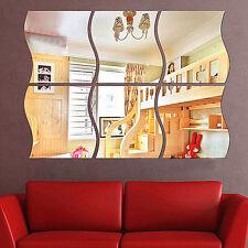 6 Stück 3D Spiegel Wandaufkleber Wandtattoo Wandsticker Deko Stickers DIY