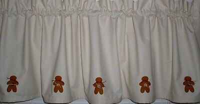 Gingerbread Muslin Valance Tiers Primitive Country Curtains Runner Kitchen  Decor   eBay
