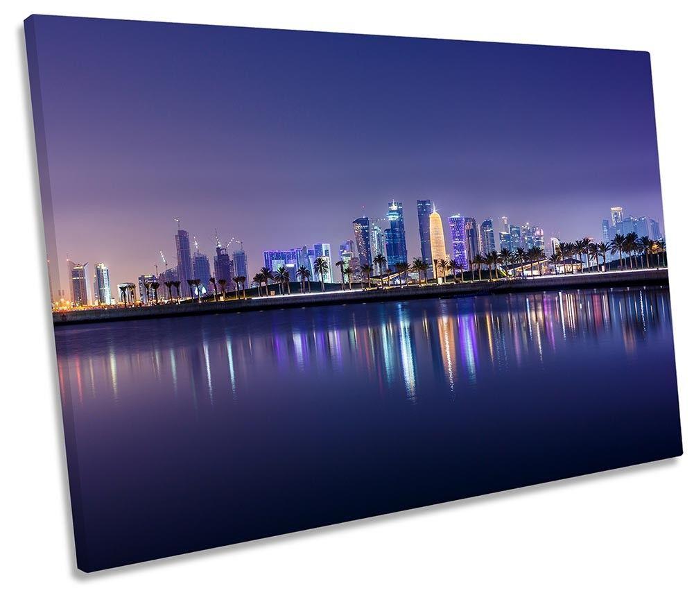 Doha Skyline City Qatar Framed SINGLE SINGLE SINGLE CANVAS PRINT Wall Art a1a0d5