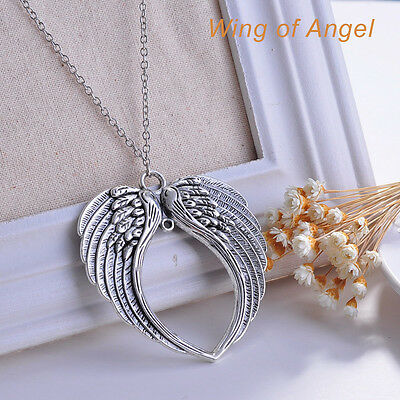 Fashion Jewelry Goth Retro Silver Double Angel Wings Pendant Chain Necklace