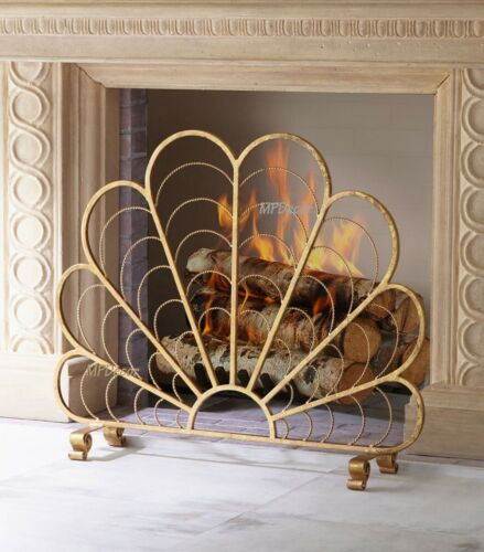 "Italian Gold Iron Shell Fan Design Decorative Fireplace Fire Screen 31/""H"