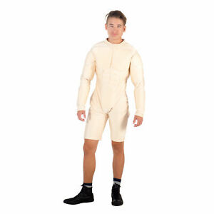 Adult-Men-039-s-Gym-Body-Builder-Superhero-Deluxe-Nude-White-Muscle-Suit-Costume