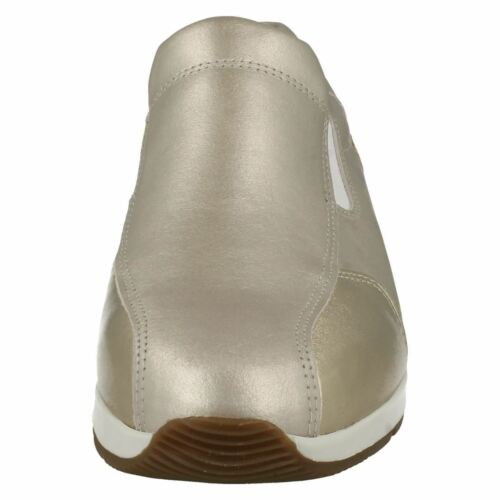 Shoes Cleo Ladies Leather Easy B Metallic Slip On Trainers