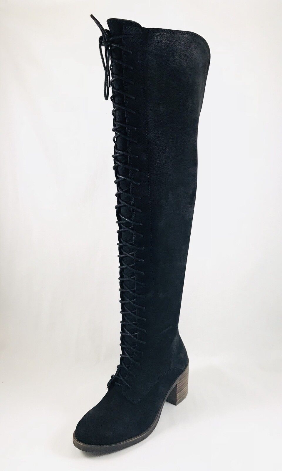 Lucky Brand Riddick Womens Round Toe Leather Black Over the Knee Boot Size 6.5