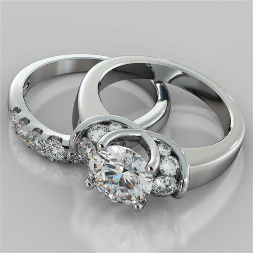 2.00 Ct Round Cut Moissanite Diamond Engagement Ring Set 14K white Gold Filled