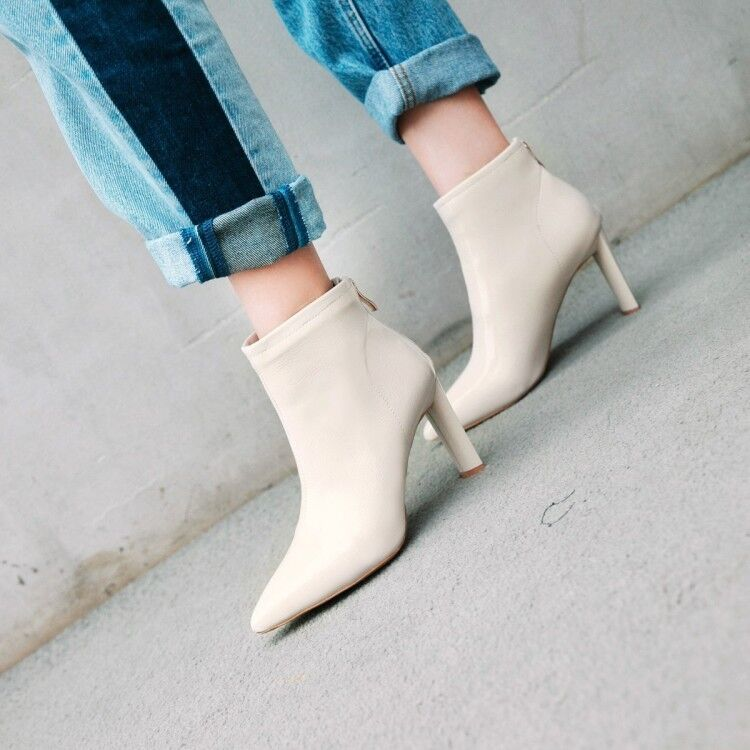 NEW Women Patent Leather Pointy Toe Zip Ankle Boots Block Heels Fashion shoes