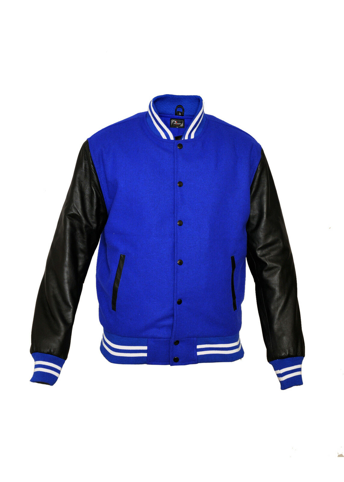 Baseball Royal Blau Varsity Letterman wollejacke with leder Sleeves
