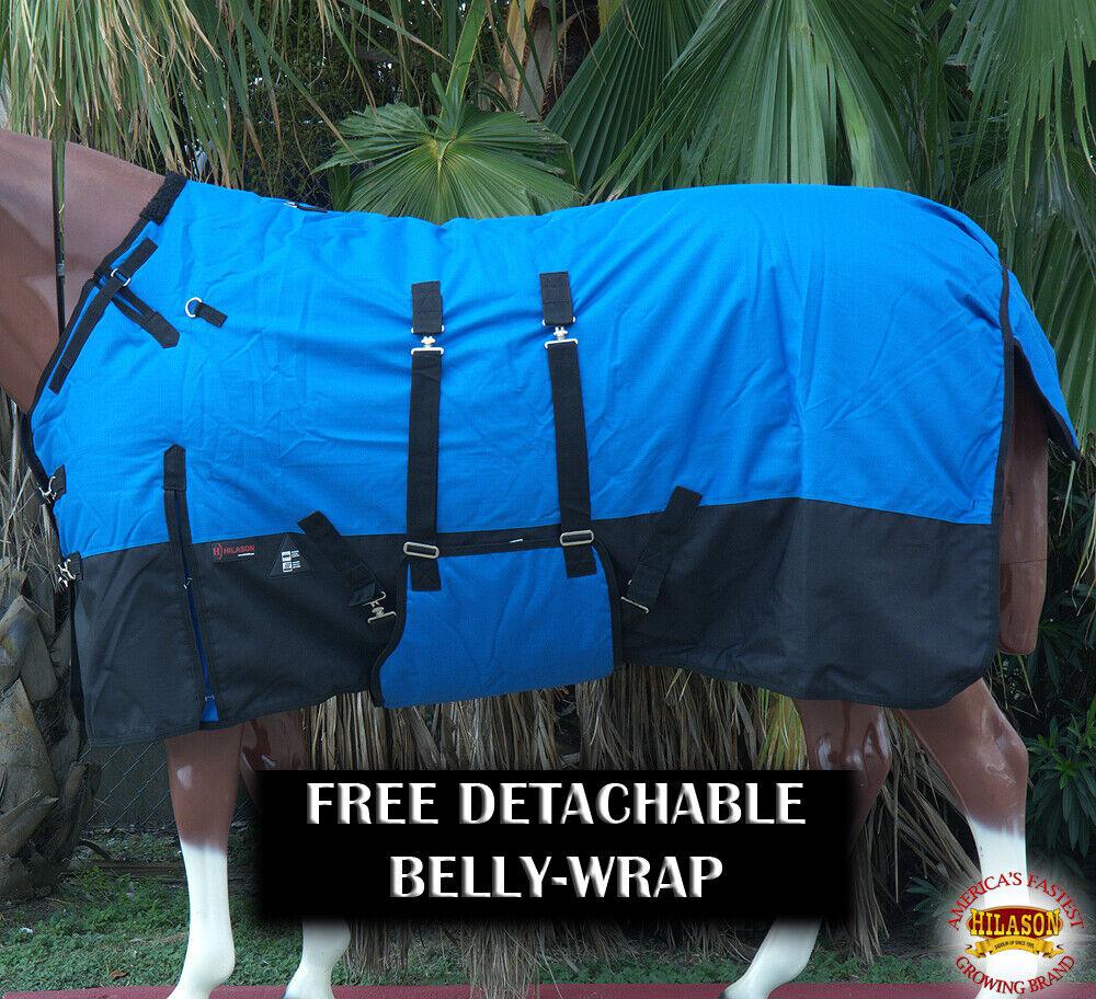 72 Hilason 1200D Winter Waterproof Poly Horse Blanket Belly Wrap Cobalt UL72