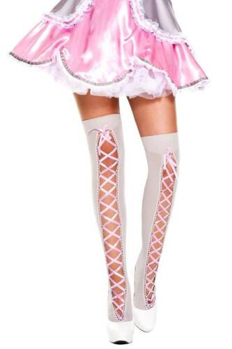 Gray//Pink Music Legs Hosiery Ribbn Lace Up Thigh High One Size