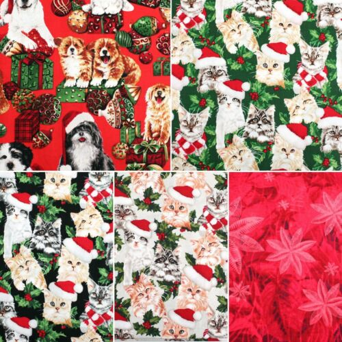 Christmas Festive Cats /& Dogs Fabricland Brand FQ Cotton Quilting Craft FQ227