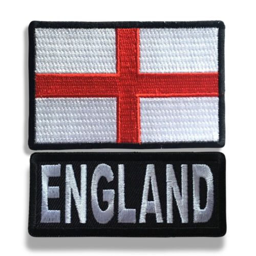 """Embroidered 3/"""" England With England Flag Sew or Iron on Patch Biker Patch Set"""