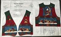 Christmas TIS THE SEASON Holiday VEST Fabric Panel Size S-M-L Leslie Beck