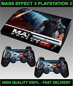 Playstation 3 Console Autocollant Peau Mass Effect 3 Style & 2 X Manette