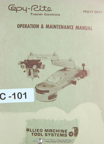 Hydraulic Tracer Unit Install /& Operations Manual Copy Rite Tracer Controls
