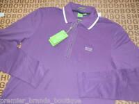 Hugo Boss Mens Long Sleeve Purple Golf Pro Polo Jeans Suit T-shirt Medium M