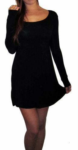 Womens Ladies Casual Black Swing Dress Summer Maternity Size 8 10 12 14 16 18