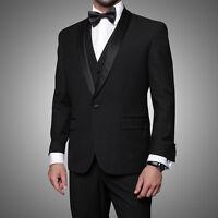 Statement Black 1-Button Tuxedo Suit Shawl Lapel Modern Fit 100% Wool $899