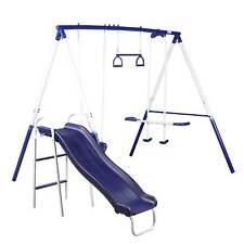 Metal Swing Set Kids Outdoor Fun Play Park Slide Glider Trapeze Bar