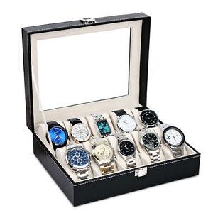 10 Slot PU Leather Watch Box Display Case Organizer Jewelry Storage Box USA