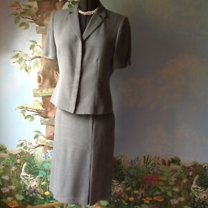 Amanda-Smith-Women-039-s-Short-Sleeve-Gray-Skirt-Suit-Jacket-Blazer-Size-10