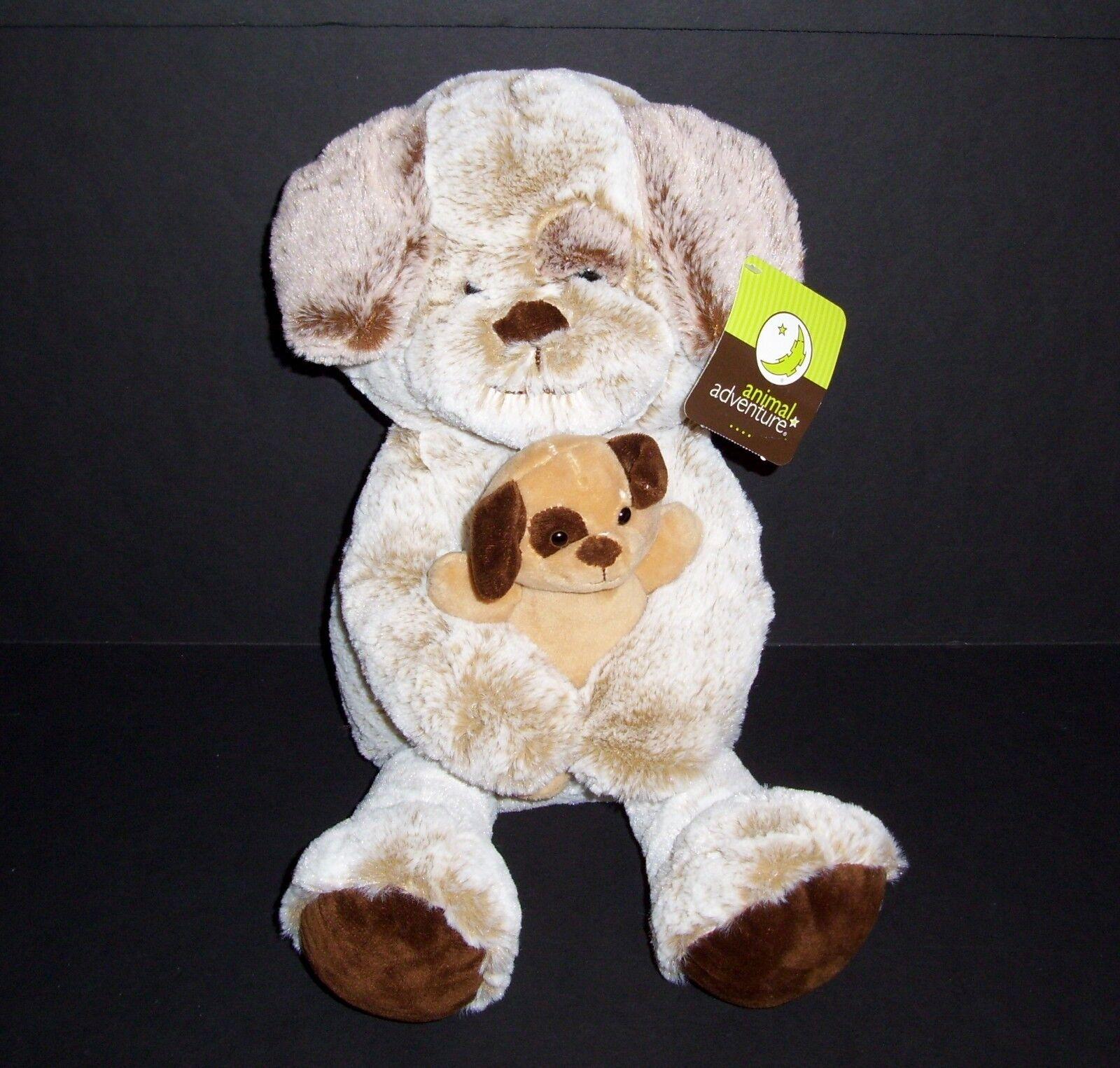 17  NEW Animal Adventure Tan Brown Puppy Dog Plush Holding Baby 2018 Stuffed Toy