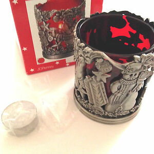 JC-PENNEY-CHRISTMAS-PEWTER-SANTA-CLAUS-amp-SNOWMAN-VOTIVE-WITH-RED-GLASS-INSERT